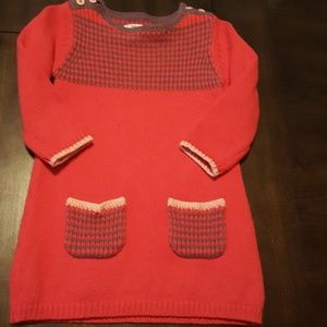 Baby Boden red knit dress 12 18 M wool